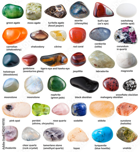 collection of various tumbled gemstones with names Wall mural