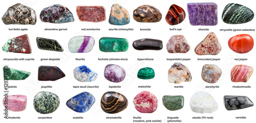 various tumbled ornamental stones with names