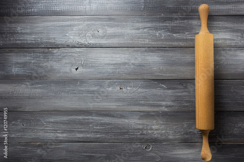 rolling pin on wooden Poster