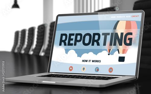 Papel de parede Landing Page of Laptop with Reporting Concept. 3D.