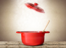 Big Red Pot For Soup With Spoo...