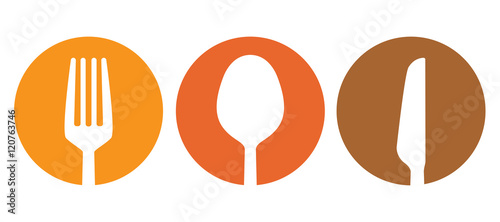 Cuadros en Lienzo Spoon fork and knife besteck vector