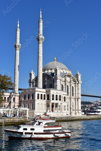 Ortakoy Mosque, located just before the Bosphorus Bridge, Istanbul Canvas Print