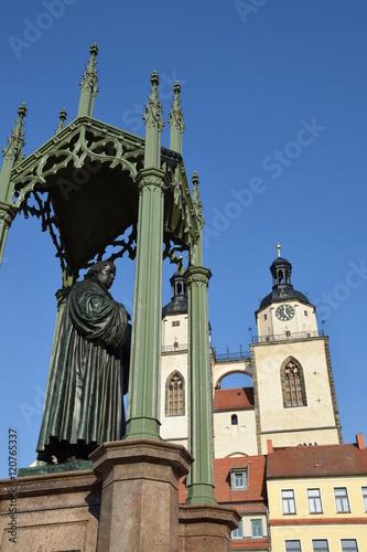 Fotografie, Obraz  Martin Luther vor der Stadtkirche Wittenberg