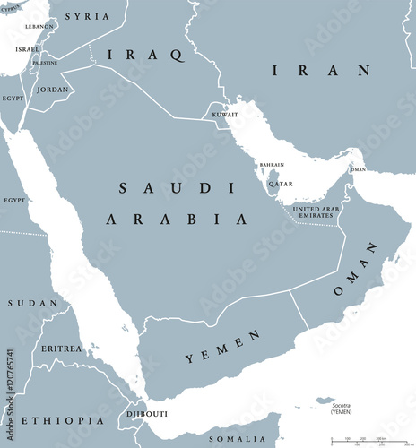 Arabian peninsula countries political map with national