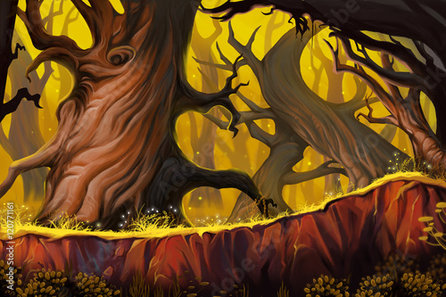 dziwny-las-drzew-gra-wideo-w-digital-cg-grafika-ilustracja-koncepcja-realistyczne-tlo-stylu-cartoon