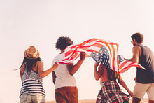 Friends With American Flag.