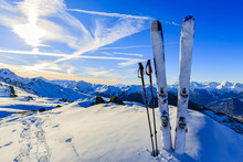 Ski In Winter Season, Mountains And Ski Touring Equipments On Th