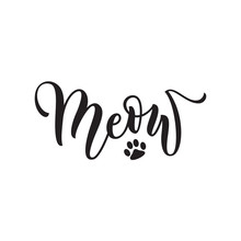 Vector Black Lettering Meow With Cute Pink Cat Paw