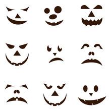 Set Of Spooky Halloween Jack O Lanterns.
