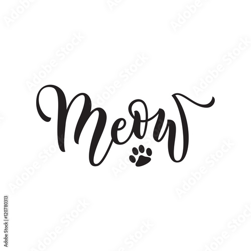 Photo Vector black lettering Meow with cute pink cat paw