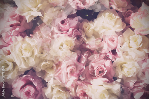 Group of flowers with white and pink color rose in vintage effect background - 120782508