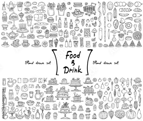 Vector set with hand drawn isolated doodles on the theme of food and drink