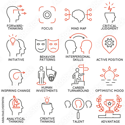 Fotomural  Vector set of 16 icons related to business management, strategy, career progress and business process