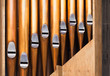 canvas print picture - Closeup photo of shining organ tubes