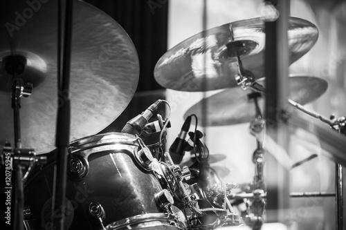 Plakat Zestaw perkusyjny, czarno-biały