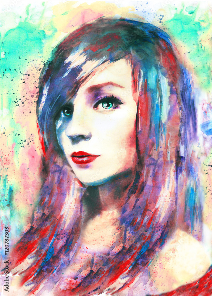 beautiful woman, watercolor painting, colorful