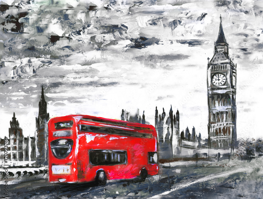 obraz olejny na płótnie, widok na ulicę Londynu, autobus na drodze. Grafika. Big Ben.