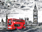 oil painting on canvas, street view of london, bus on road. Artwork. Big ben. - 120793780