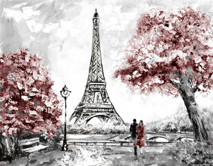 FototapetaOil Painting, Street View of Paris. Tender landscape