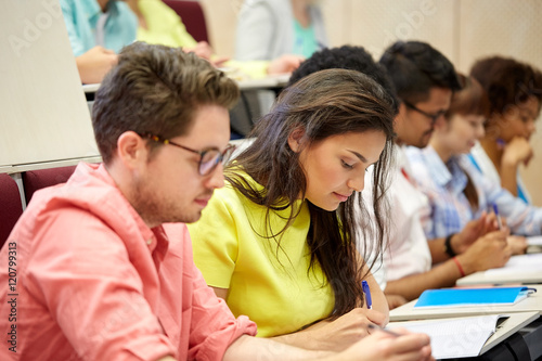 Fototapety, obrazy: group of international students writing at lecture