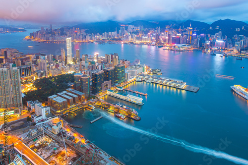 Wall Murals Hong-Kong Night at the Victoria Harbor in Hong Kong city skyline