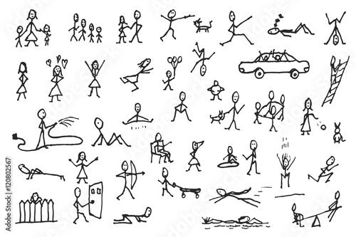 Fotografia  Set of stick figures in motions