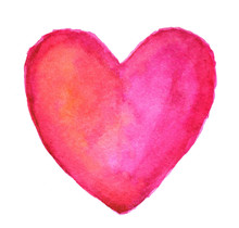 Pink Heart In Watercolor