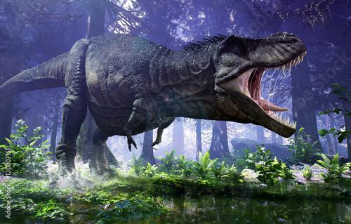 Renderowanie 3D tyranozaura Rexa tupiącego przez mokradła Hell Creek.