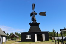 Old Wooden Windmill In Denmark, Europe. Nymindegab, West Coast.