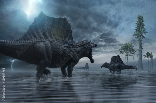 Obraz na plátně  3D render of Spinosaurus group moving to a new hunting ground.