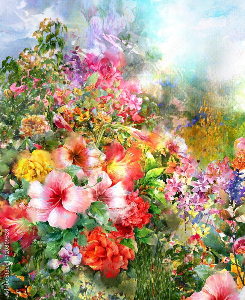 Fototapety, obrazy: Abstrakcyjne wielokolorowe kwiaty