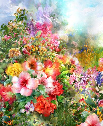Obraz Abstrakcyjne wielokolorowe kwiaty - fototapety do salonu