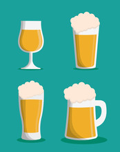 Beer Glass Icon. Drink Beverage And Alcohol Theme. Colorful Design. Vector Illustration
