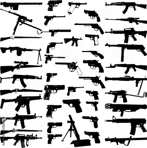 big weapons collection - vector Wallpaper Mural