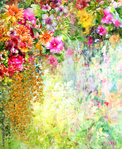 Abstract flowers watercolor painting. Spring multicolored flowers - 120811544