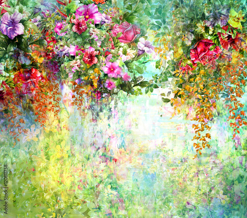 Fototapety, obrazy: Abstract flowers watercolor painting. Spring multicolored flowers