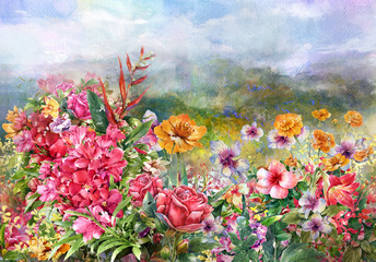 Fototapeta Wiejski landscape of multicolored flowers watercolor painting style