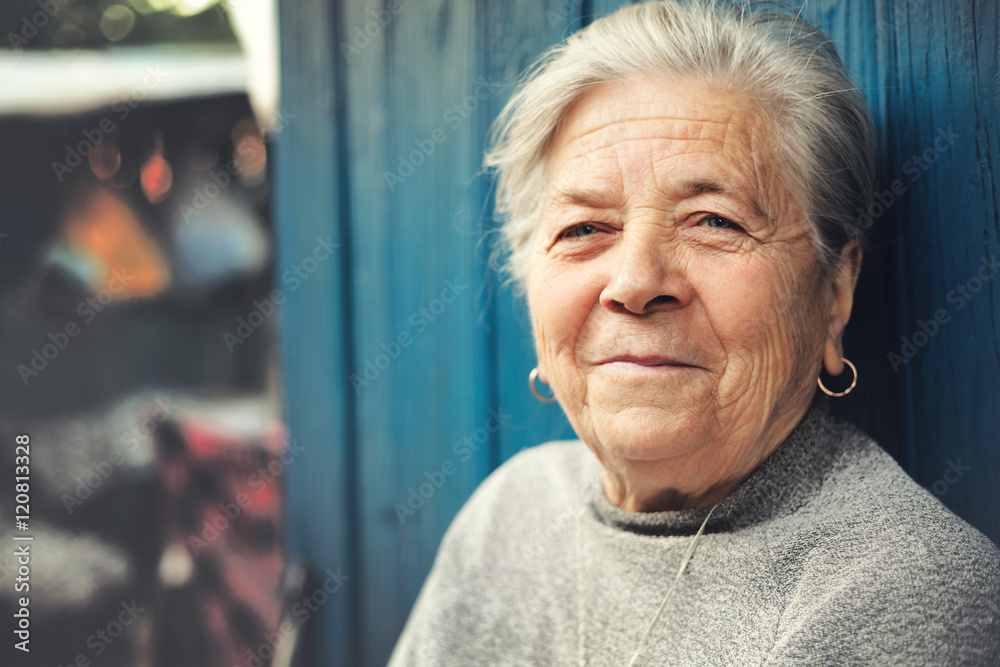 Fototapety, obrazy: Happy old senior woman smiling outdoor