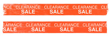 "Glossy Adhesive Tapes With Words ""clearance Sale"" On White Background"