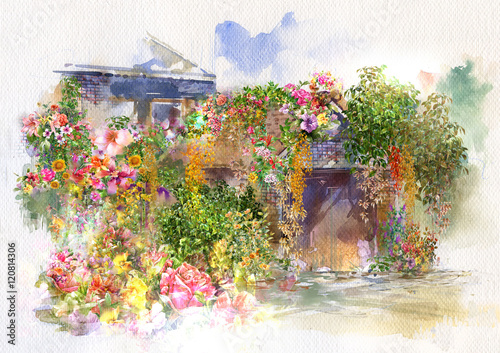 Fototapety, obrazy: Abstract flowers on Wall, roof watercolor painting. Spring multicolored flowers