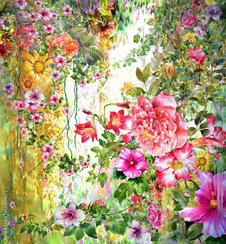 Abstract flowers watercolor painting. Spring multicolored flowers - 120814575