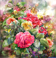 Fototapeta Róże Bouquet of rose watercolor painting style.digital painting