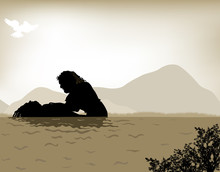 John The Baptist Baptizes Jesus, Vector Illustration Done With Warm Sepia Tones.  The Sky Is A Vector Mesh.