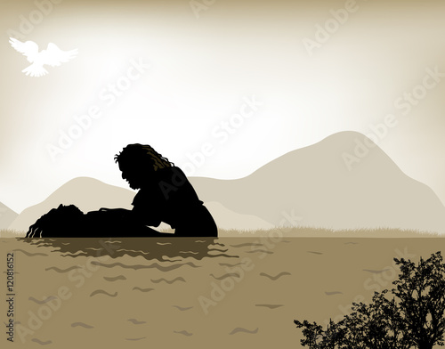Fotomural John the Baptist baptizes Jesus, vector illustration done with warm sepia tones