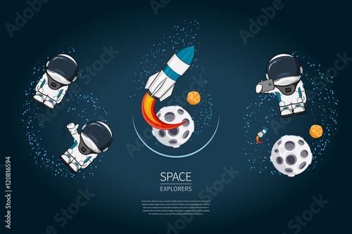 set of modern design vector illustration with rocket launch