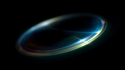 Circular lens flare. Abstract rotational galaxy. Beautiful ellipse border. Luxury shining hole. 