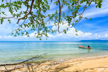 Boat and tropical beach, Islands Thailand