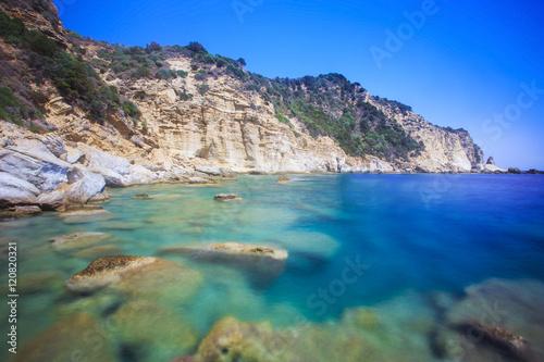 Poster Cote Beach on Marathonisi island in Zakynthos, Greece.