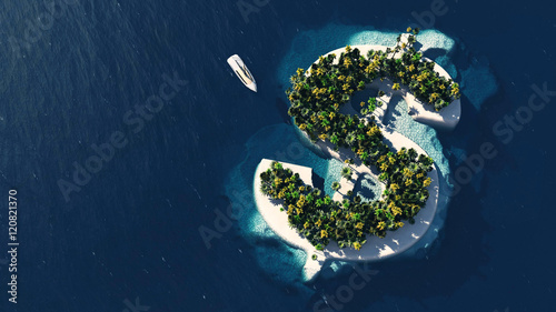 Photo  Success way. Tropical island in the form of dollar
